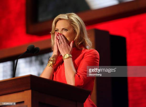 Ann Romney wife of Republican presidential candidate Mitt Romney reacts before speaking at the Republican National Convention in Tampa Florida US on...