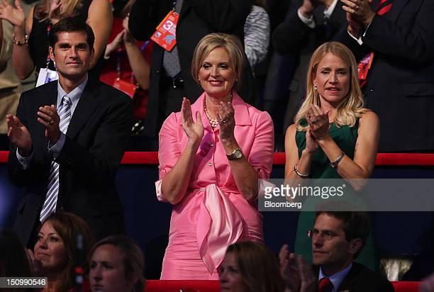 Ann Romney wife of Republican presidential candidate Mitt Romney center son Matt Romney left and Janna Ryan wife of Republican vice presidential...