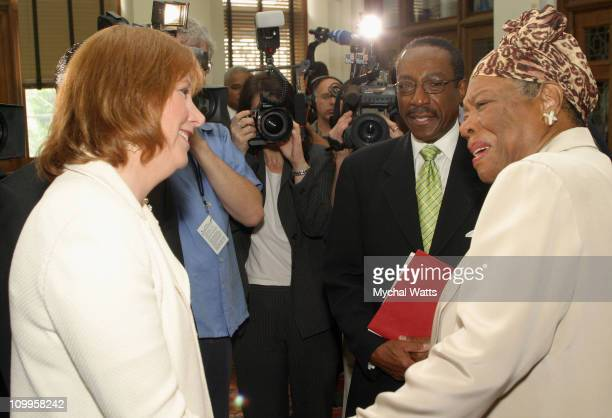 Ann Rubenstein Tisch and Maya Angelou during Announcement of the 10th Annual Harlem Renaissance Day of Commitment at Shepard Hall at City College in...