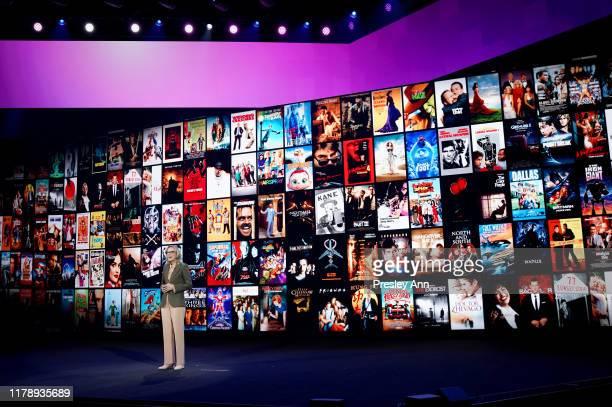 Ann Sarnoff Chair Chief Executive Officer of Warner Brothers speaks onstage at HBO Max WarnerMedia Investor Day Presentation at Warner Bros Studios...