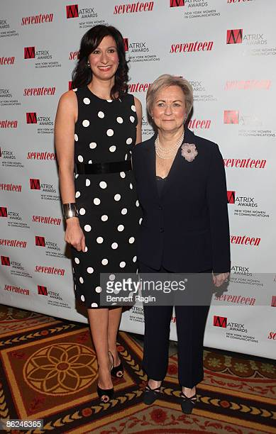 Ann Shoket EditorinChief of Seventeen Magazine and Midge Richardson attend the 2009 Matrix Awards at the Waldorf=Astoria on April 27 2009 in New York...