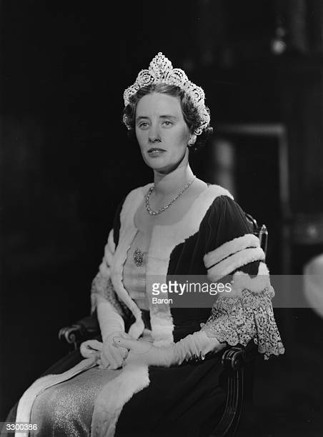 Ann Sullivan wife of the 2nd Duke of Westminster Hugh Richard Arthur Grosvenor wearing the robes she has researched for the coronation of Queen...
