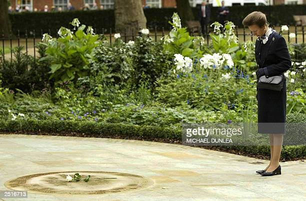 Ann the Princess Royal opens the memorial garden in Grosvenor Square London 11 September dedicated to the memory of those who died when two hijacked...