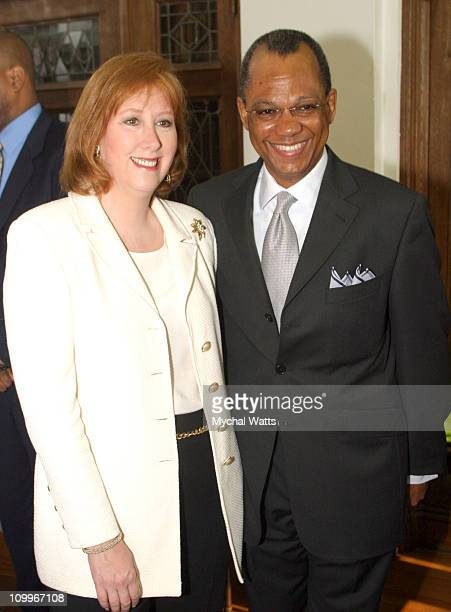 Ann Tisch and Rev Dr Calvin Butts during Announcement of the 10th Annual Harlem Renaissance Day of Commitment at Shepard Hall at City College in New...