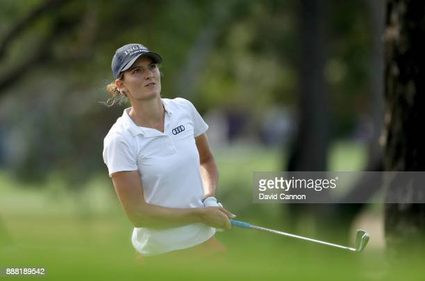 Ann Van Dam of The Netherlands plays her second shot on the par 4 first hole during the third round of the 2017 Dubai Ladies Classic on the Majlis...