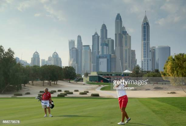 Ann Van Dam of The Netherlands plays her second shot on the par 4 17th hole during the third round of the 2017 Dubai Ladies Classic on the Majlis...