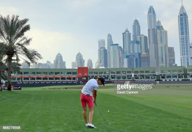 Ann Van Dam of The Netherlands plays her second shot on the par 5 18th hole during the third round of the 2017 Dubai Ladies Classic on the Majlis...