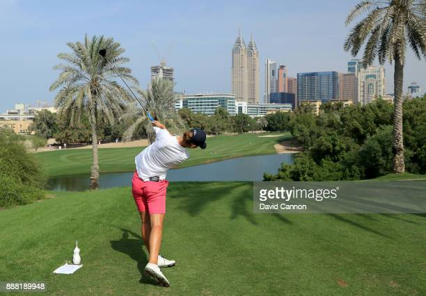 Ann Van Dam of The Netherlands plays her tee shot on the par 4 second hole during the third round of the 2017 Dubai Ladies Classic on the Majlis...
