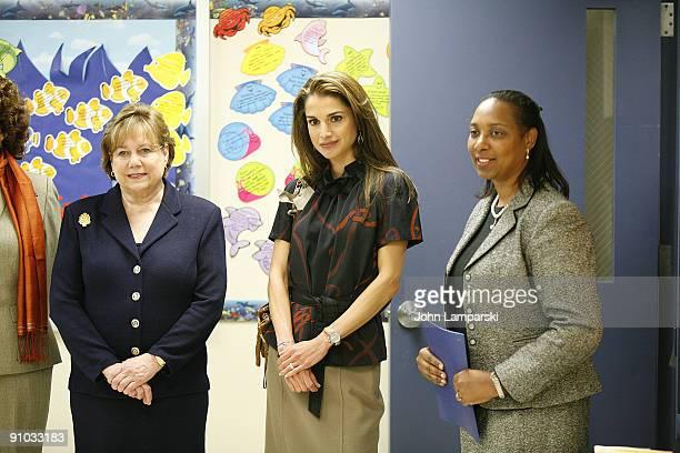 Ann Veneman Queen Rania of Jordan and an unidentified woman visit The Young Women's Leadership School East Harlem on September 21 2009 in New York...