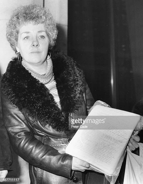 Ann West mother of the 'Moors Murders' victim Lesley Ann Downey holding the 28000 signature petition against the release of murderer Myra Hindley...