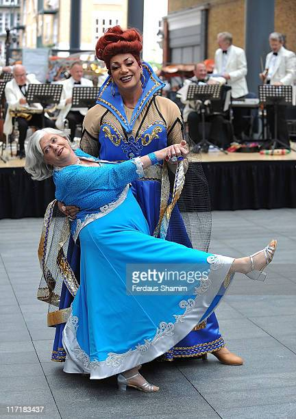 Ann Widdecombe and Craig Revel Horwood attend a photocall for the press launch of Snow White and the Seven Dwarfs at Old Spitalfields Market on June...