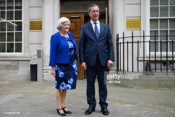 Ann Widdecombe and Nigel Farage pose at the European Commission Representation Smith Square on April 24 2019 in London England Ann Widdecombe has...