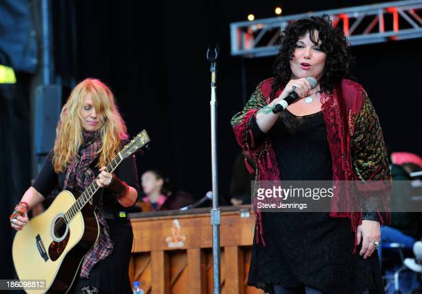 Ann Wilson and Nancy Wilson of Heart perform on Day 2 of the 27th Annual Bridge School Benefit concert at Shoreline Amphitheatre on October 27, 2013...