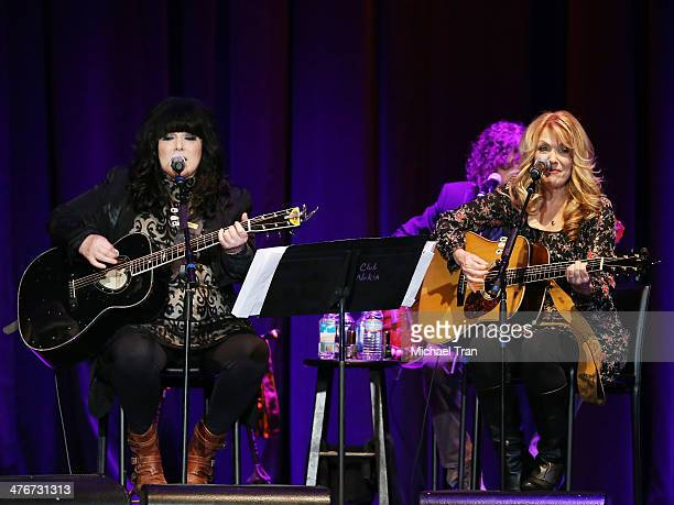 Ann Wilson and Nancy Wilson of Heart perform onstage during the Country Music Hall of Fame Museum's 'All For The Hall' held at Club Nokia on March 4...