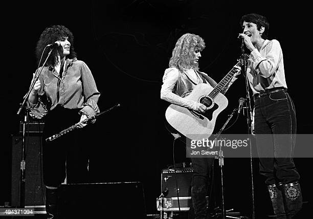 Ann Wilson and Nancy Wilson of Heart perform with Joan Baez at the Bread Roses Music Festival at Zellerbach Hall in Berkeley California on Oct 2 1981