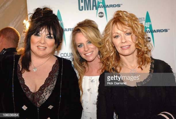 Ann Wilson Deana Carter and Nancy Wilson during The 40th Annual CMA Awards Arrivals at Gaylord Entertainment Center in Nashville Tennessee United...