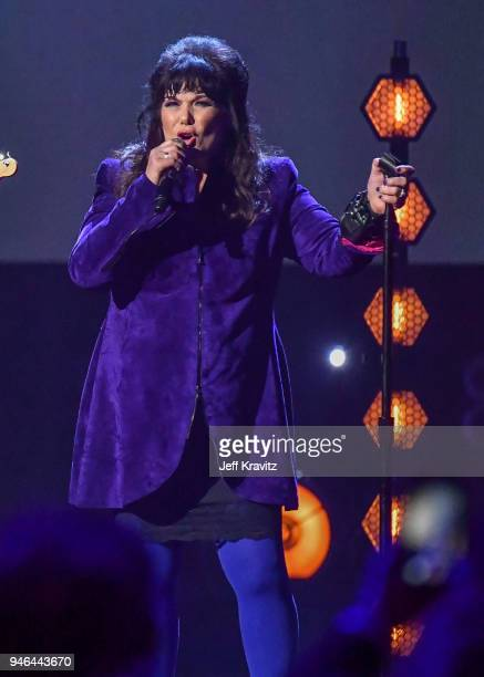 Ann Wilson pays tribute to Chris Cornell during the 33rd Annual Rock & Roll Hall of Fame Induction Ceremony at Public Auditorium on April 14, 2018 in...