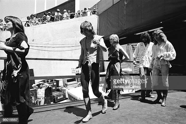 Ann Wilson Roger Fisher Nancy Wilson Steve Fossen and Howard Leese of Heart at The Oakland Coliseum in 1977 in Oakland California