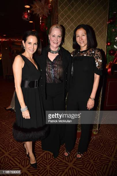 Ann Wolf, Sara Dodd and Jill Roosevelt attend Anne Hearst McInerney, Jay McInerney and George Farias Host Christmas Cheer at Doubles Club on December...