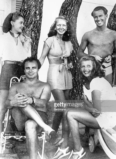 Ann Woodward in 1948 at Chateau L'Horizon property of Prince Aly Khan bottom left who would wed Rita Hayworth the next year Top left is Bonnie...