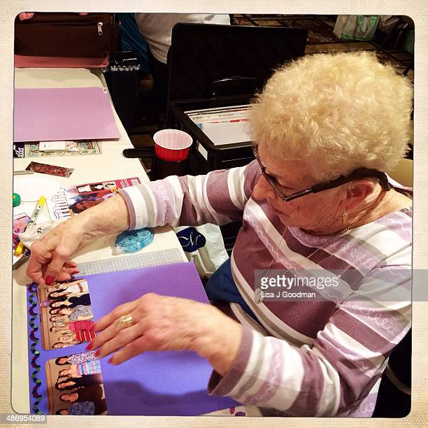 Ann Working On Scrapbook page
