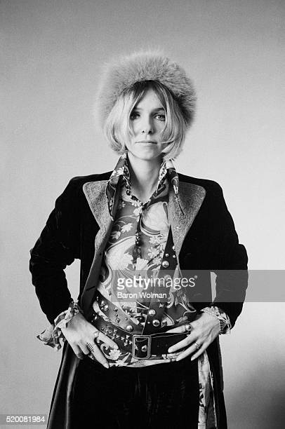 Anna a rock groupie wears a nose ring and fur hat 1968