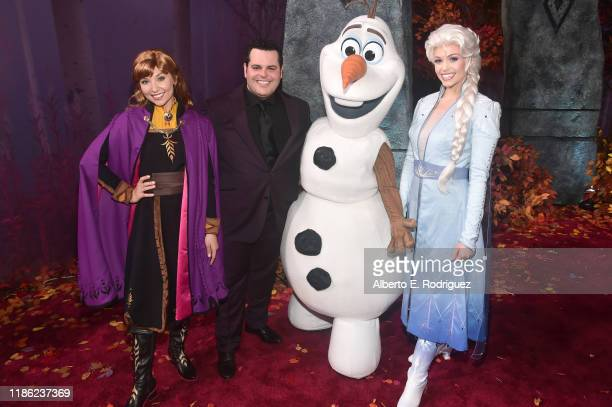 Anna Actor Josh Gad Olaf and Elsa attend the world premiere of Disney's Frozen 2 at Hollywood's Dolby Theatre on Thursday November 7 2019 in...