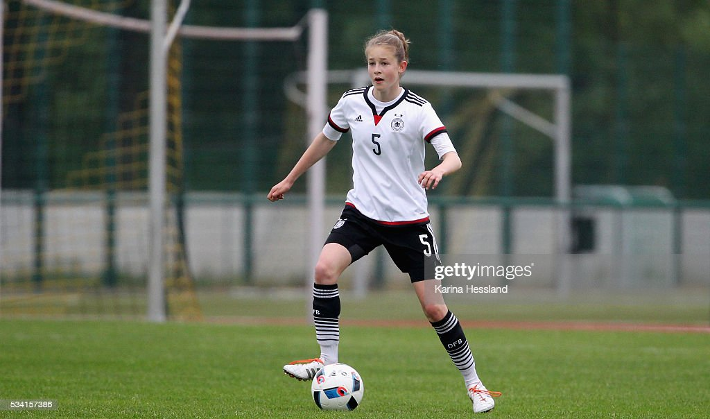 Anna Aehling of Germany during the International Friendly match between U15 Girls Germany and U15 Girls Czech Republic at Auenstadion on May 24, 2016 in Floeha, Germany.