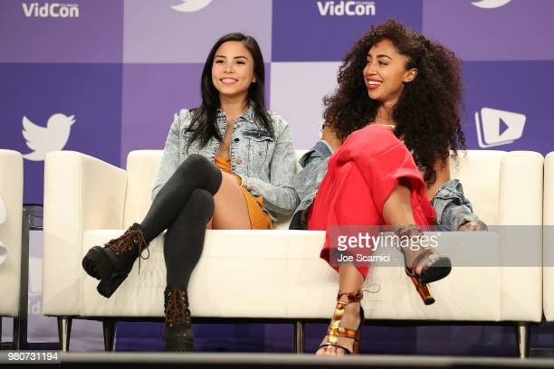 Anna Akana and Shan Boody speak onstage during the 'Boss Women Who Kick Ass' panel at the 9th Annual VidCon at Anaheim Convention Center on June 20...