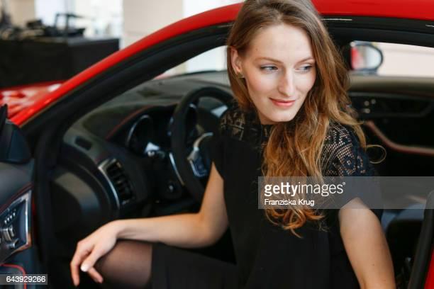 Anna Albertine Baronius attends the Jaguar X Juniqe Art Salon opening on February 22 2017 in Munich Germany
