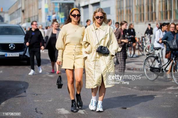 Anna & Alessa Winter seen outside Baum und Pferdgarten during Copenhagen Fashion Week Spring/Summer 2020 on August 08, 2019 in Copenhagen, Denmark.