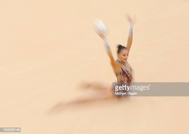 Anna Alyabyeva of Kazakhstan competes in the Individual AllAround Gymnastics Rhythmic on Day 13 of the London 2012 Olympics Games at Wembley Arena on...