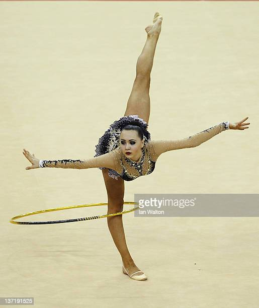 Anna Alyabyeva of Kazakhstan in action in the Individual AllAround during the FIG Rhythmic Gymnastics Olympic Qualification round at North Greenwich...