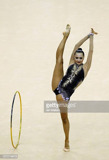 Anna Alyabyeva of Kazakhstan in action in the Individual AllAround Final during the FIG Rhythmic Gymnastics at North Greenwich Arena on January 18...