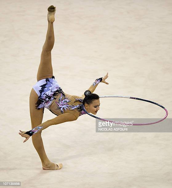 Anna Alyabyeva of Kazakhstan performs during the rhythmic gymnastics individual allaround qualification team final during the 16th Asian Games on...