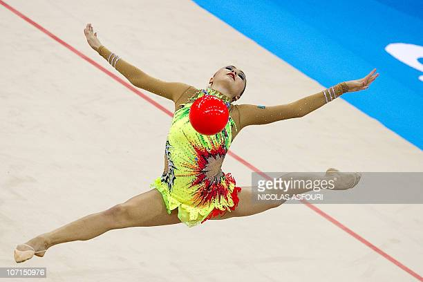 Anna Alyabyeva of Kazakhstan performs during the rhythmic gymnastics individual allaround final of the 16th Asian Games on November 26 2010 Anna...
