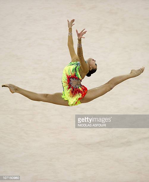 Anna Alyabyeva of Kazakhstan performs during the rhythmic gymnastics individual allaround final during the 16th Asian Games on November 26 2010...