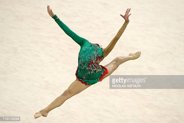 Anna Alyabyeva of Kazakhstan performs during the rhythmic gymnastics individual allaround qualification team final rotation 2 during the 16th Asian...