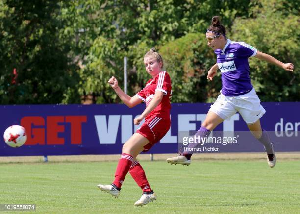 Anna Amtmann of FC Suedburgenland and Katharina Aufhauser of SG USC Landhaus Austria Wien during the Planet Pure Women Bundesliga match between SG...