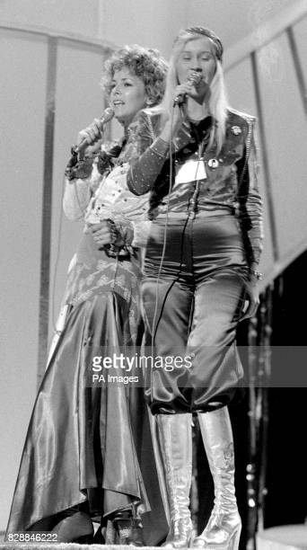 Anna and Frida of the Abba group singing Sweden's entry Waterloo during a dress rehearsal in Brighton for the Eurovision Song contest