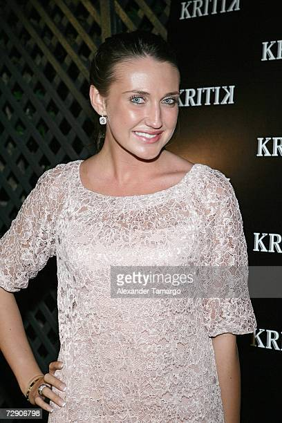 Anna Anisimova poses at the KRITIK clothing launch at Casa Casaurina on December 30 2006 in Miami Beach Florida