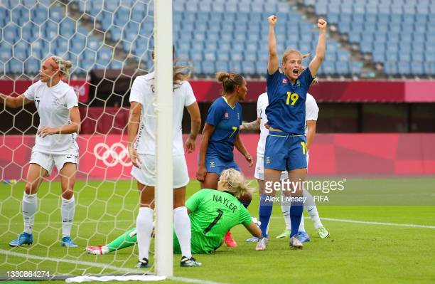 Anna Anvegard of Team Sweden celebrates after scoring their side's first goal during the Women's Group G match between New Zealand and Sweden on day...