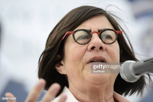 Anna Azari the Israeli ambassador to Poland is seen attending the March of Life Holocaust commemoration on Castle Square in Warsaw Poland on April 15...