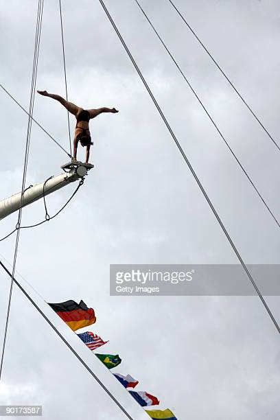 Anna Bader of Germany competes during the Red Bull Cliff Diving World Series at Hamburg Harbour on August 29 2009 in Hamburg Germany
