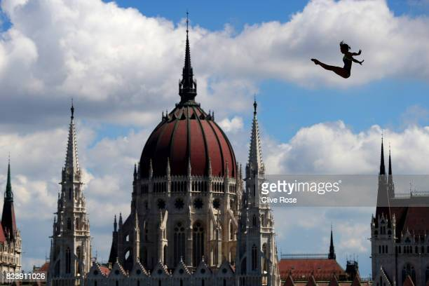 Anna Bader of Germany competes during the Women's High Dive preliminary round on day fifteen of the Budapest 2017 FINA World Championships on July 28...