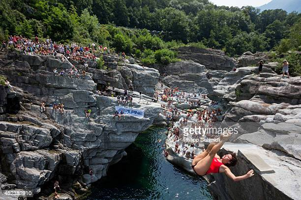 Anna Bader of Germany dives from a 20 metre rock during the Cliff Diving European Championship on July 19 2014 in Ponte Brolla near Locarno...