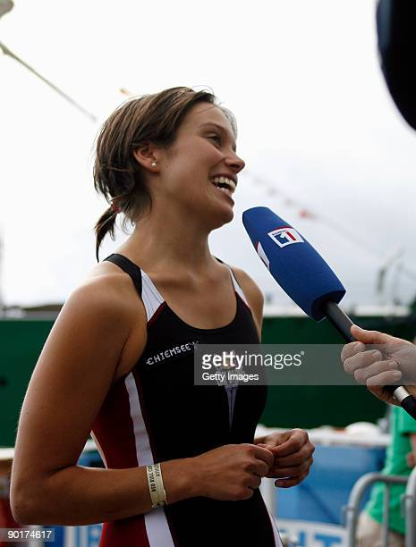 Anna Bader of Germany gives an interview during the Red Bull Cliff Diving World Series at Hamburg Harbour on August 29 2009 in Hamburg Germany