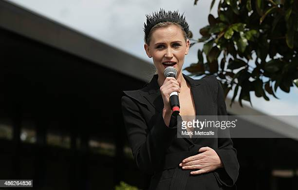 Anna Bamford speaks during the 2015 Sydney Spring Carnival launch at Royal Randwick Racecourse on September 3 2015 in Sydney Australia