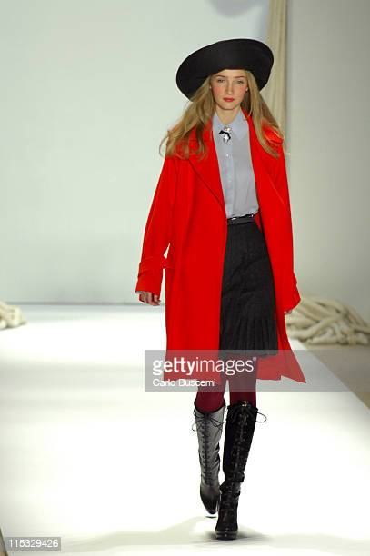 Anna Barsukova wearing Charles Nolan Fall 2007 during MercedesBenz Fashion Week Fall 2007 Charles Nolan Runway at The Promenade Bryant Park in New...