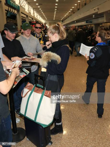 Anna Baryshnikov is seen at Salt Lake City International Airport on January 18 2018 in Park City Utah